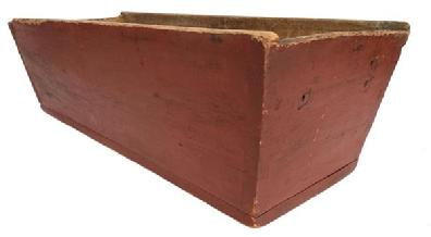 E181 Early 19th century signed  dovetailed Dough Box, original dry red paint, canted sides with a pegged on bottom and stamped and signed  by maker H. E. Meyers