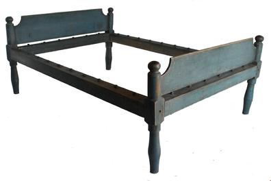 "D72 19th century Pennsylvania , original dry blue painted  rope Bed, block-turned posts , mortised head and footboard,   ,very sturdy when set up , circa 1820 Measurements are: 51 1/4"" wide x 30"" tall headboard  x 7 1/4"" long"