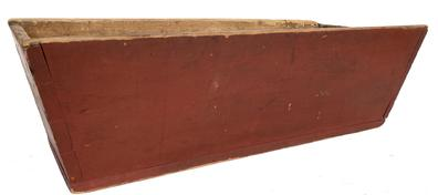 "E181 Early 19th century signed  dovetailed Dough Box, original dry red paint, canted sides with a pegged on bottom and stamped and signed  by maker H. E. Meyers  Measurements are: 13 1/2"" wide x 31 1/2"" long x 9 3/4"" tall"
