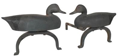 "E222    1925-1930'S. ORIGINAL  PAIR OF DECOY ANDIORS THEY ARE BOTH VERY WELL SIGNED/MARKED RICHARD F.H. CLANCEY SOUTH ST. NEEDHAM, MA. (MASSACHUSETTS). MANY OF RICHARD CLANCEY'S CAST IRON WORK IS SIMPLY MARKED R.F.H. CLANCEY BUT THIS PAIR OF ANDIRONS HAPPENS TO HAVE IS 1ST NAME RATHER THAN JUST HIS INITIALS. They are  cast iron pair of Decoy Andirons each decoy embossed on reverse ""RICHARD F.H. CLANCEY / SOUTH ST. / NEEDHAM, MASS."", base ""SOUTH ST. / RICHARD CLANCEY / NEEDHAM, MASS."" and rear log supports stamped ""RICHARD F.H. CLANCEY / SOUTH ST. / NEEDHAM. MASS."". First half 20th century. 11"" H,19 3/4"" D."
