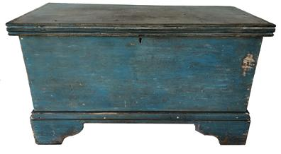 E478 Mid 19th Century Eastern Shore, MD blanket chest.  All square nail construction with a really nice applied bracket base and molded lid in early blue paint.  The primary wood is poplar. Circa 1850�s.  Measurements:  28 3/4� wide x 13 1/4� deep x 16 1/2� tall
