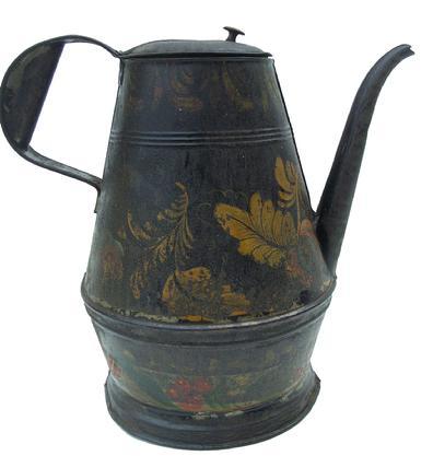W359 Late 18th century painted and decorated Toleware Coffee Po