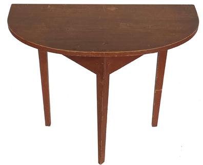 "**SOLD** F100 19th century Demilune table in original dry red paint from the collection of Robert Perry, one board top, nice tapered legs circa 1820-1840  Measurements are 18"" deep x 36"" wide x 29"" tall"