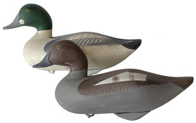 F120 Pair of Golden Eye Decoy by Madison Mitchell, sign and dated 1976 by Mitchell