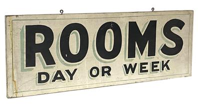 "G24 Early 20th century trade sign ""Rooms Day or Night""  painted on one board two sided, black letters on a white background with green shadowing  Measurements are 32 1/2"" long x 12"" tall"
