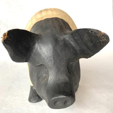 F734 Early 20th century Pennsylvania  great piece of  folk art,  wooden hand carved Pig signed and dated 1986   ,