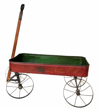 M785 Child's toy wagon with original green interior and red exterior,