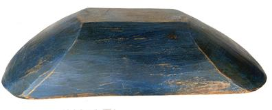 "RM1231 19th century large wooden Trencher with beautiful original blue  paint, old natural  patina on the inside showing  years of use. no cracks or breaks  Measurements are :18 1/2"" long x 9"" wide x 4"" tall"