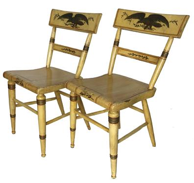 RM986 Rare Pair of Mid 19th century American Eagle Decorated  Plank bottom chairs, original paint with decoration Circa 1860 measurements 31 1/2� tall 18 1/2� wide 17 1/2� seat to floor