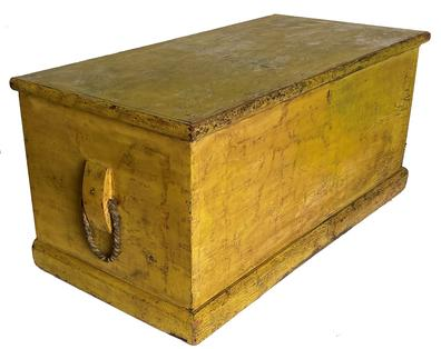 RM1094 19th Century Maryland Nautical Sea Chest in old yellow over blue paint, with original rope and leather Becketts (handles). Dovetailed case with applied base.  Circa 1830.  Measurements:  41� wide x 20 1/4� deep x 19� tall
