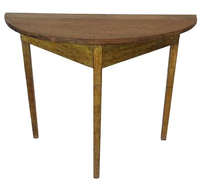 "S313 19th century Eastern Shore Maryland Demi Lune Table with the original mustard paint, and a scrub top. square head nail construction. Measurements are: 40"" wide x 31"" tall x 18"" deep"