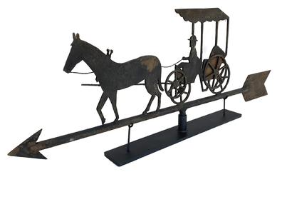 V257 Horse and Buggy Weathervane Outstanding workmanship early 20th century sheet iron weathervane all hand made -- with the remains of the original black paint,