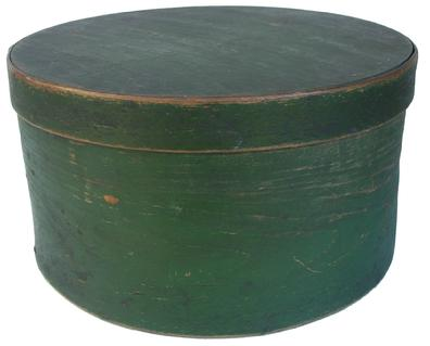 "X75 Green Painted Covered Pantry Box. Iron nailed lap joints. Top of lid stamped: ""S. Pace."" 5 3/8""h. X 10""dia. Condition: Good with little use wear."