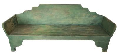 E56  Exceptional Southern 19th Century North Carolina Daybed, retaining it�s original green painted surface. One Wide yellow heart pine  board, square head nail construction