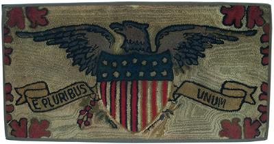 "U500 19th century patriotic American Hooked Rug  with a spread wing Eagle, with blue and gray striped wings, perched on top a 13 star Shield, with a ribbon with the words E Pluribus Unum "" Out of many one"" surrounded by maple leaves board, the Rug is in very good condition, professional cleaned and mounted . 47"" wide x 24"" tall"