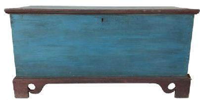 D555 19th century Salisbury Maryland in the original red and blue paint, dovetailed case with applied elaborate cut out base. One board square head nail construction, the interior has a locking glove box. circa 1830