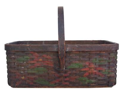 "Z6 Early 20th century paint decorated  Vegetable gathering Basket, with reinforced bottom,  hand carved steamped and bent handle the back ground color is black with red and green decoration. 17"" long x 11"" wide x 13"" tall"