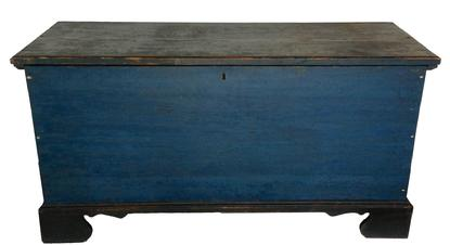 LD2  SUSSEX COUNTY, DELAWARE BLUE PAINTED PINE BLANKET CHEST,six board construction, with a dovetailed case applied bracket dovetailed base, original hardware,interior tile, outstanding blue and black paint