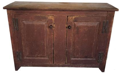 "D271 18th century Lancaster Co Pennslyvania two door raised panel storage Cupboard.with original cast iron H hinges, the wood is white pine one board construction, with rosehead and tee nails circa 1780  Measurements are 34"" tall x50 1/4"" wide x 17 1/2"""
