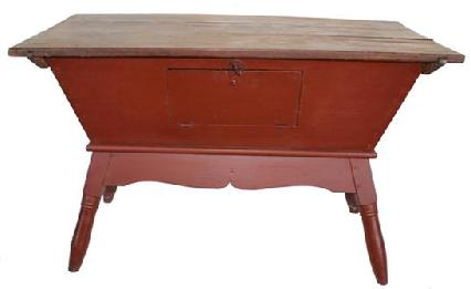 B214 Early 19th century  painted dough box on stand, (circa 1820) with wonderful red  paint  found in Lancaster County Pennsylvania . Dove-tailed case, with  very gracefully turned splayed legs with removable  lid , with a drop down door, for easy entering the interior of the Dough Box.