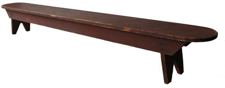"V260 19th century splay leg Prayer Bench with the beautiful dry  original red paint, square head nail construction, round ends circa 1850 Measurements are: 6 3/4"" deep x 51 3/4"" long x 7 1/4"" tall"