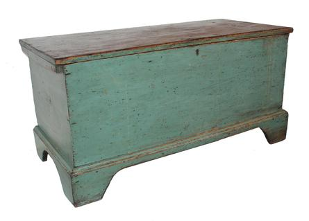 "C153  18th century Maryland original blue painted Blanket Box , circa 1780-1800   tee and rose head nail construction, nice high cut out applied base, one board construction.Measurements are 41"" wide x 18"" deep x 20"" tall"