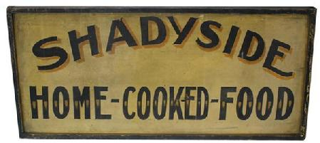 C15 Late 19th century Sign,Shade Side Home Cooked Food , two sided with applied molding, wonderful original paint, from Indiana, circa 1880