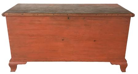 "D286 18th century Pennslyvania pine Blanket Chest retaining it's original pumpkin paint,  dovetaile case with and applied ogee base, with the original strap hinges, applied molding around lid which is all pegged on .circa 1780 - 1790  Measurements are : 22"" deep x 48"" wide x 25"" tall"
