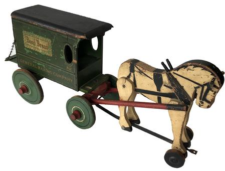 "E300 Rich Toys Horse-Drawn Bond Bread Wagon Toy. American. All wooden wagon pulled by one  horse. Marked ""812 Bond Bread General Baking Company"" on both sides of wagon. Original back door with chains . . Just a few small cracks and some crazing to paint.Condition (Excellent). Size 23"" L.Rich Toys Horse-Drawn Bond Bread Wagon Toy."