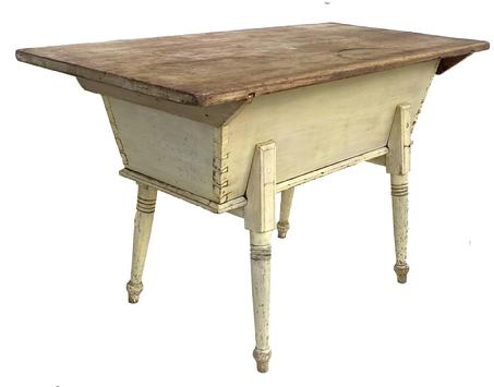 D406 19th century Lancaster County, Pennsylvania painted pine dough box table, resting on turned splay legs, retaining the original yellow surface, dovetailed case all original