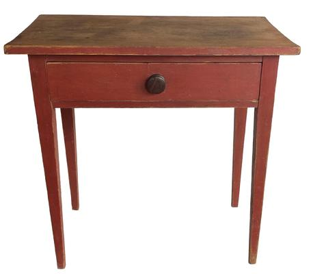 F95 Early 19th century Country Hepplewhite one drawer Server / Side Table, in the original red paint, the  over sizes drawers is dovetailed , with a one board scrub top, nice tapered legs, Measurements are 30� long x 17 ½� deep x 30� tall