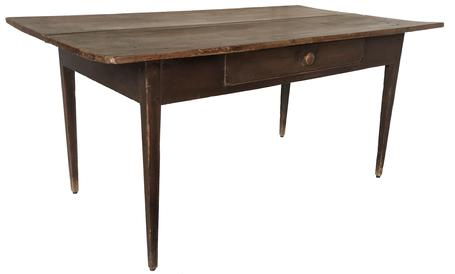 "(L418) 19th century North Carolina hepplewhite table original dry red surface  with a dovetailed  drawer and three board top, the base of the table is mortised and pegged   From Windston Salem  Circa 1840 measurements  are: 29 3/4"" table 35 3/4 wide by 62 "" long"