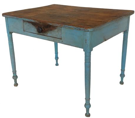 A437 Lancaster County, Pennsylvania early 19th Century Country Sheraton work table with a single dovetailed drawer in old blue over the original green paint.  The wood is pine.  The top is constructed of two nice, wide boards � one measuring 18 ¼� and the other measuring 11 ½� wide!  Hidden on the back is a very unique feature; 2 pull-out supports to hold an extra board/leaf to provide extra table top space.  Table is great overall height of  30� tall (23 ¾� from floor to apron), which is perfect size to be used as either a breakfast table or a desk!  Measurements: 39� wide x 29 ¾� deep x 30� tall