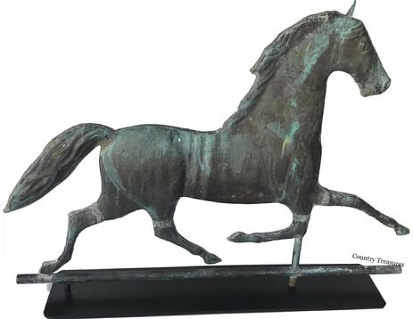 "D491 Very fine running horse copper weathervane, Circa 1900 excellent patina with verdigris, spindle on a copper tube  excellent condition, 19 1/2"" h, 26 1/2"""