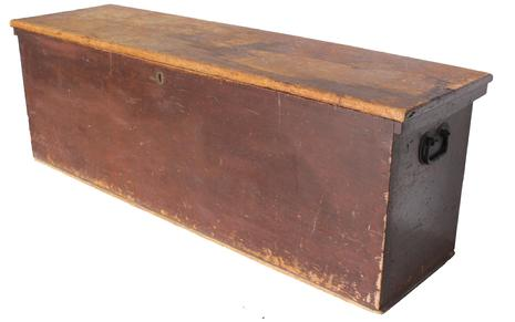 "RM727 Early 19th century Delaware Valley Window Box, in the original dark red paint showing wonderful wear to the surface, the case is dovetailed, with original hand made heart handles, one board construction, the wood is pine, Measurements: 58 1/2"" long x 17"" deepx 19 1/2"" tall"