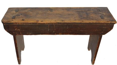 C429 19th century double mortised  pennsylvania Bench, the wood is pine, the legs are mortised through the top, with a half moon cut out on each leg circa 1850