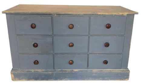 E283 Late 19th century  Apothecary cabinet/ storage cabinet , with later pewter gray paint over the original salmon,  This wooden cabinet was handmade, This type of cabinet would have been used in a pharmacy or general store.There are  six over size pull out drawers