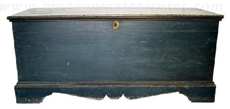 RM143 Early 19th century Pennslyvania original indigo blue painted blanket chest, dovetailed case with strap hinges.Wonderful  molded bracket base with great front and side profiles  circa 1810 - 1820
