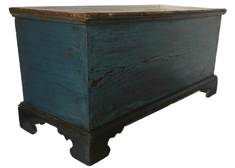 "D336 19th century Talbot County  Maryland Blanket Chest with the original blue and black paint, dovetaile case and dovetailed feet.. The applied bracket base is also dovetailed, it has an over size glove tile with a molded edge lid. One board southern yellow pine construction, very unusual applied molding on the back feet.  Found in a home in Easton Maryland 43 1/2"" long x 19 1/4"" deep x 22"" tall"