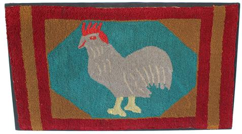"B21 Early  20th century folky rooster hooked rug, with a  thriple board of red and mustard  frames the rooster on a blue and mustard  background. This is a great country rug in excellent condition and mounted for display 21"" high x 36"" long"