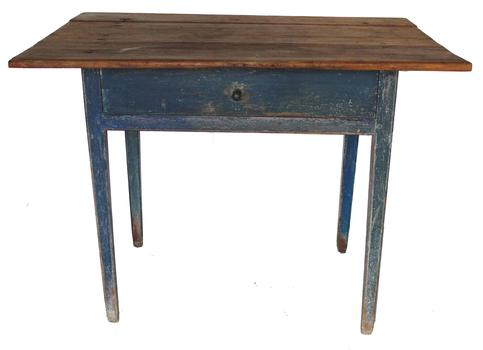 C498 18th century Traven Table circa 1790  two board  top with pegs and rose head nails   attached to the one drawer base, The base is pegged construction resting on  breaded tapered legs in original blue  paint