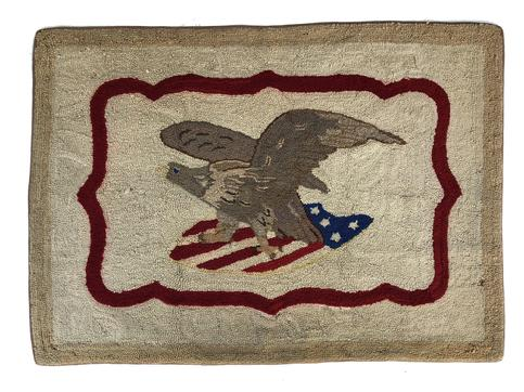 "Patriotic Antique Eagle Hooked Rug. Spread wing Eagle holding a shield . Wonderful soft colors from years of patina. n. A wonderful addition to your folk art or Americana collection measures 38"" x 27"""