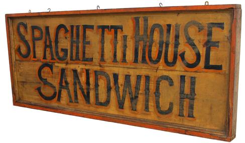 "C535 19th century New Jersey  two sided wooden restaurant  trade sign ( Spaghetti House Sandwich)  painted on board with applied boarder with applied molding the back ground is mustard with dark blue letting high lilted with orange  circa 1890-1910 Measurement are 61"" wide x 25"" tall x 3"" deep"
