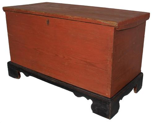 "C156 19th century Sussex County Delaware  original bittersweet and black painted small Blanket Chest,  dovetailed case, with an applied dovetailed bracket base. The wood is southern pine, very unusual diamond painted  Escutcheon, one board construction circa 1830 Measurements  38"" wide x 22"" tall x 17 1/2"" deep"