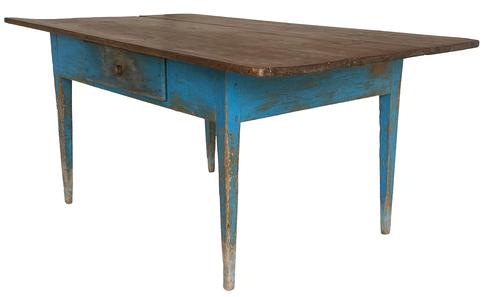 D447 19th century Shendoha Vally Virgina  Farm Table , in original blue paint, with a single over sized square head nailed  drawer, three board top, mortised and pegged construction,