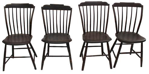 "Y348 19th century New England  four stepdown Windsor/ Step Down Side Chairs, Original Paint Circa 1820  Measurements are: 34"" tall x 18 1/4"" wide from seat to floor is 17"""