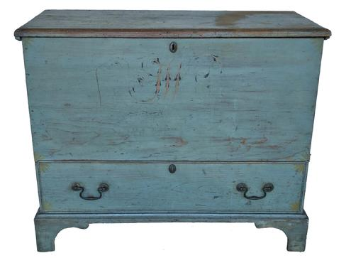"E315 Late 18th century New Hampshire Blanket Chest  ( circa 1780  1800 )  lift top,over a single drawer in the original beautiful robin egg blue  decorated paint, with initials, T.W. painted on the front  Original snipe hinges, the case feature a molded edge bracket base,  All original brass hardware Measurements are:49 1/2"" wide x 19"" deep x 32 1/4"" tall"