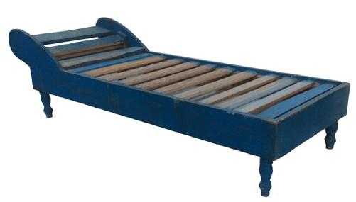 "Q539 19th century Day Bed, with the original blue paint, all original, nice turned legs the wood is pine  circa 1880,  26 3/4 wide x 74 "" long x 13 1/2"" tall at the foot of the bed and head of the bed 21"" tall"