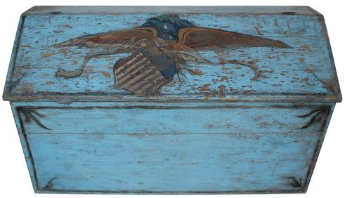 "RM627 19th century Pennslyvania slanted front  paint decorated Storage Bin, wonderful blue paint with a hand painted Eagle holding a sheild,  decorated applied to front and sides. The lid has two dovetailed batons, with a divided interior Measurements are: 49"" wide x 20"" deep x 30"" tall"