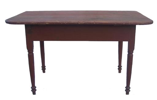 "U194  Pennsylvania one board top  Work Table, with old dry red over the original red paint.  31 1/2"" wide one board top with two batons. very gracefully turned legs, circa 1800-1820 26 1/2"" tall x 31 1/2"" wide x 48"" long"